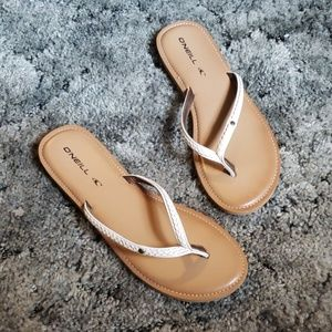 O'Neill Flip Flops Braided Faux Leather Size 9